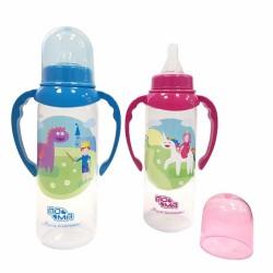 Бутылочка для кормления пластиковая, Пома Мечта с ручками и силиконовой соской быстрый поток 6+ 250 мл арт. 4310
